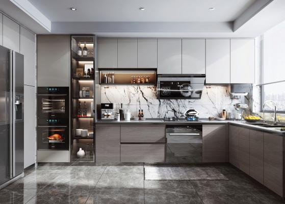 现代风格厨房 橱柜 油烟机 灶具 蒸烤箱