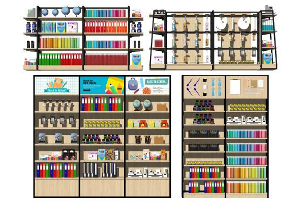 现代文具店货架 展示柜 学习用品