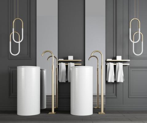 现代立式洗手台 镜子