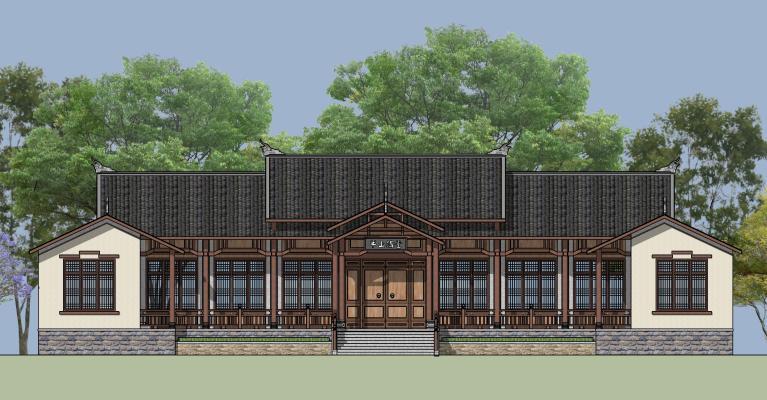 中式古建木屋建筑 书院 讲堂