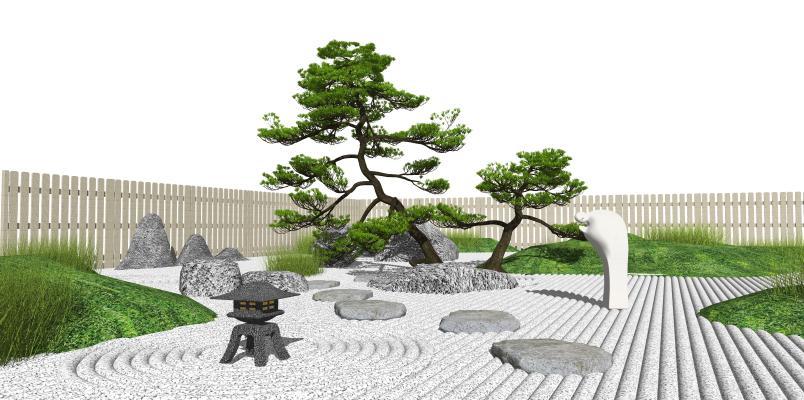 新中式庭院景观 景观松树 枯山水 景观小品