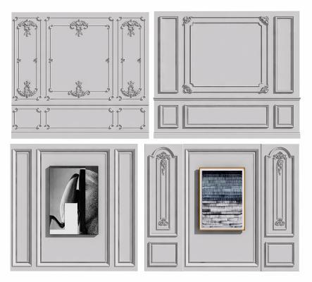 欧式简约风格建筑构件 线条护墙板组合