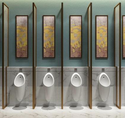 现代公共卫生间小便斗墙饰墙画组合