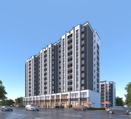 新中式风格商住楼 高层住宅 临街商铺