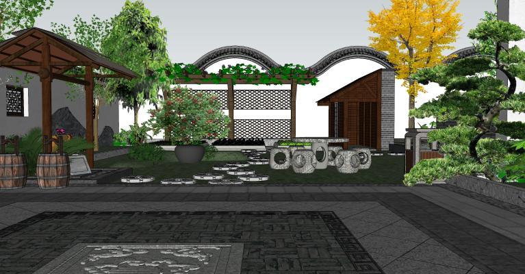 中式庭院景觀 園藝小品 植物