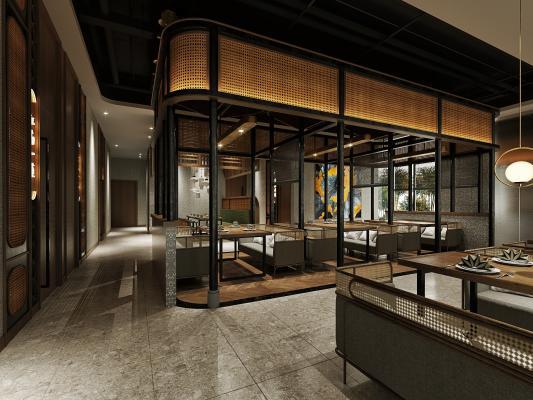 日式餐厅餐饮 藤编桌椅 吊灯