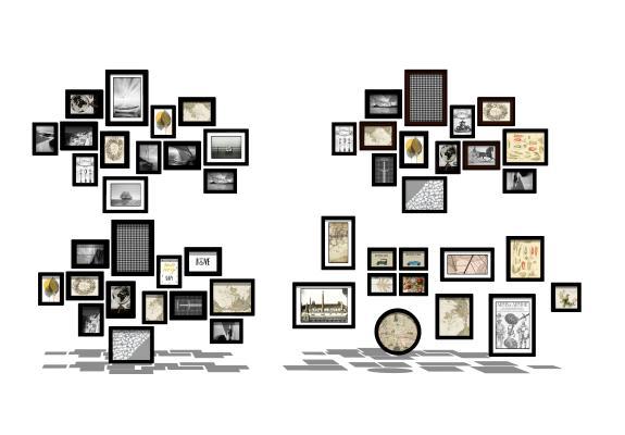 现代照片墙装饰画组合
