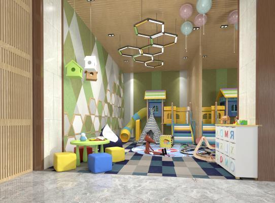 现代幼儿园娱乐室滑滑梯桌椅吊灯组合