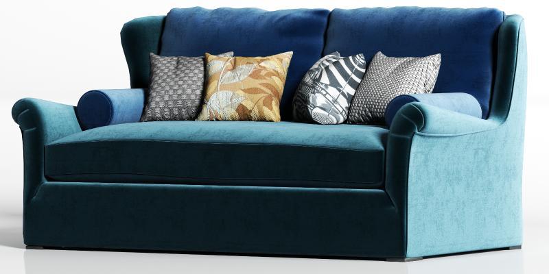 现代绒布双人沙发