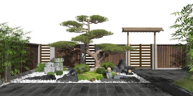 新中式庭院景观 假山水景 枯山水