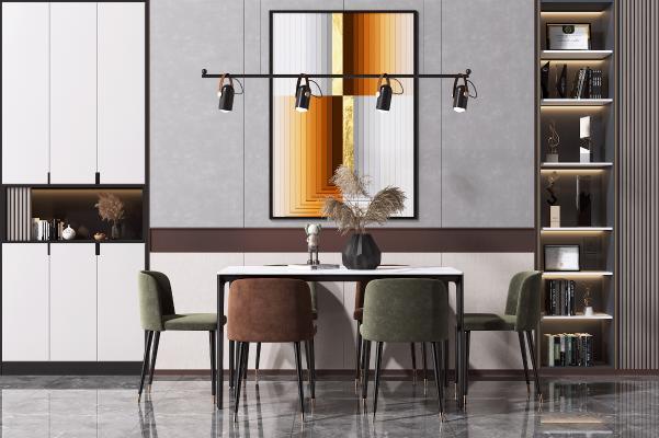 現代餐桌椅组合 书柜 艺术吊灯
