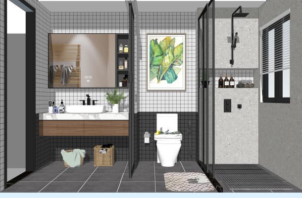 北欧家居卫生间 马桶 淋浴组合