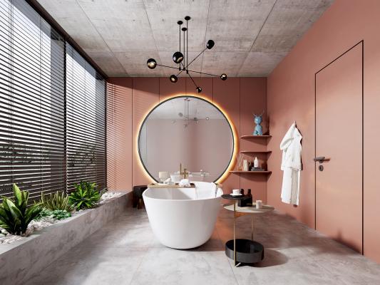 现代卫生间 吊灯 浴缸