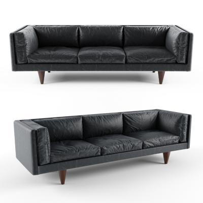 现代三人皮沙发