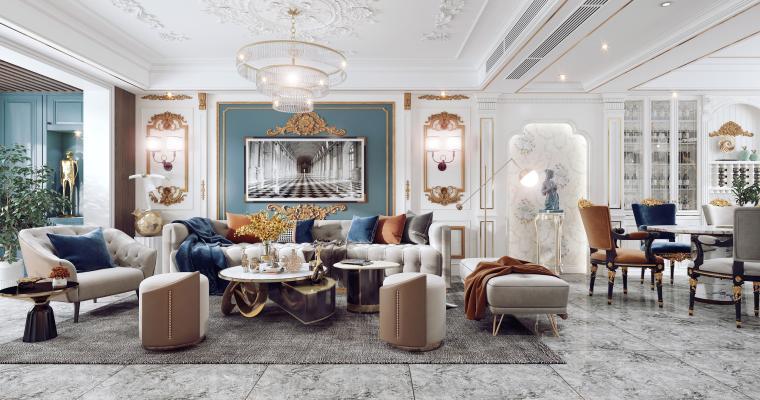 法式客餐厅 沙发茶几组合 餐桌椅