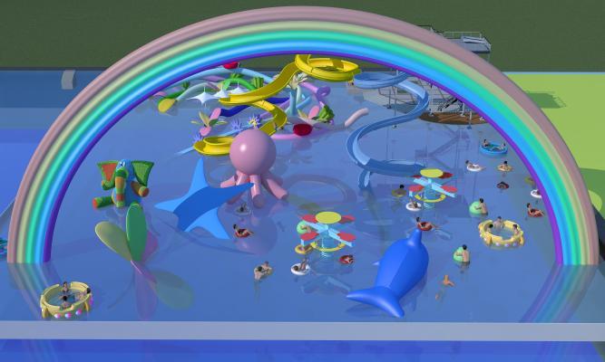 现代水上游乐场游泳人物 卡通气球 水上项目