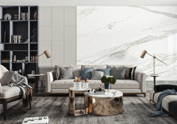 现代沙发茶几组合 双人沙发 茶几