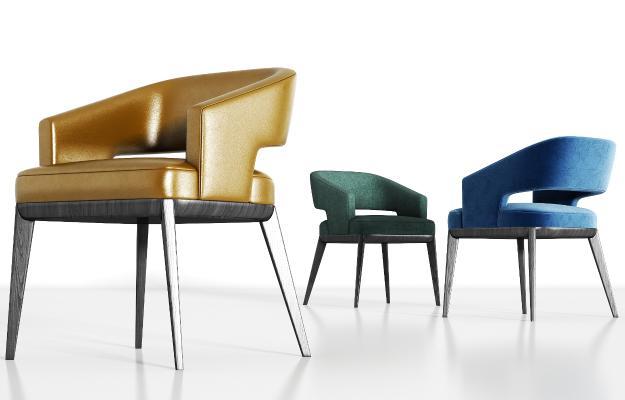 现代实木皮革绒布单椅组合