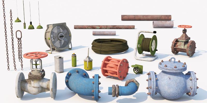 现代工业设备 管道 零件