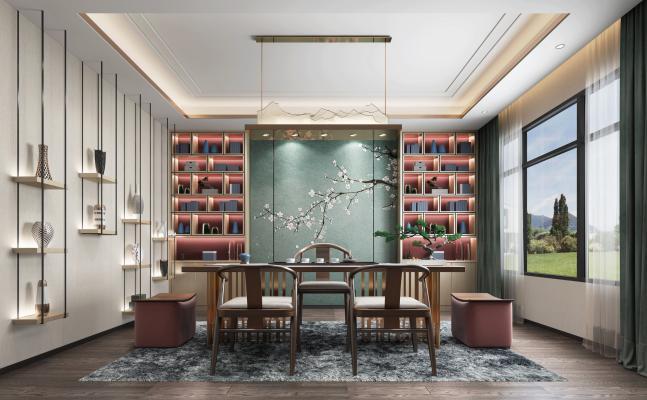 现代新中式茶室 书房