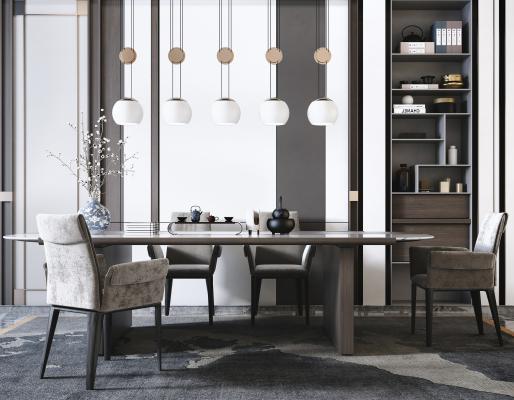 新中式餐桌椅�M合