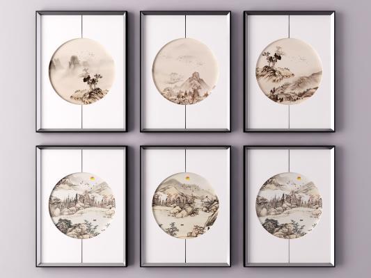 新中式山水风景装饰挂画 风景画 山水画