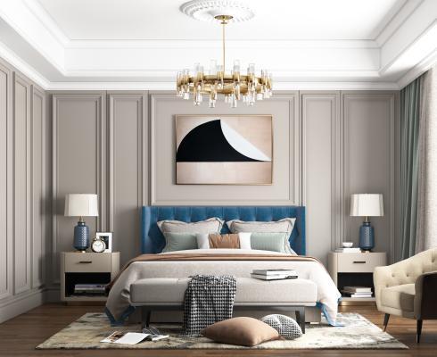 美式輕奢臥室