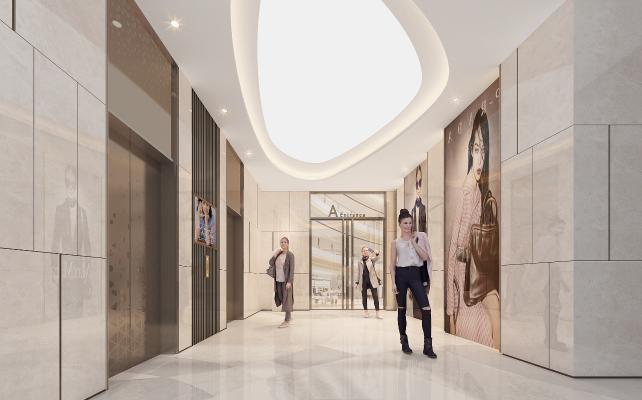 现代商场电梯厅 电梯厅