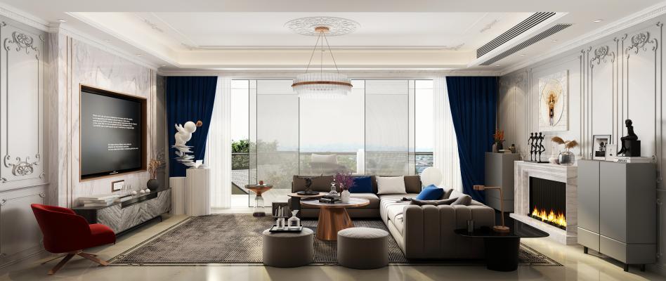法式轻奢客厅 吊灯 挂画