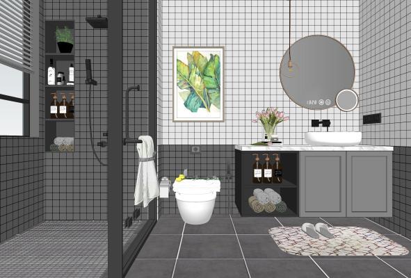 北欧卫浴小件组合 卫生间 洗手盆 梳妆镜