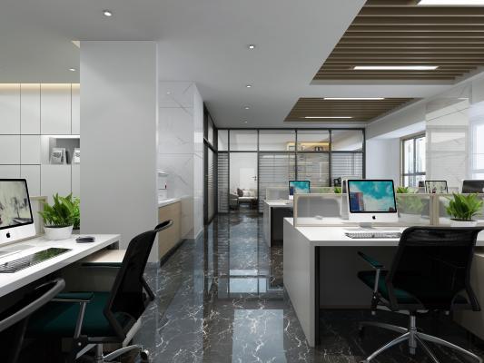 现代风格办公区 开敞办公区 玻璃高隔