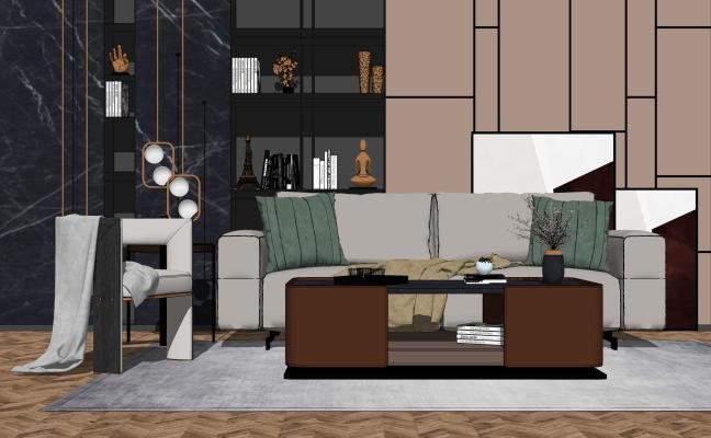 现代轻奢客厅 沙发茶几组合