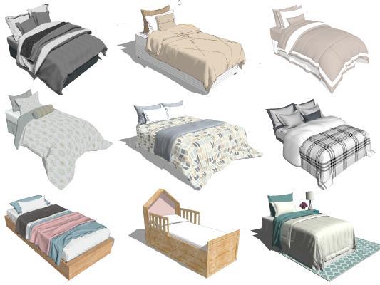 现代儿童床 单人床 男孩床