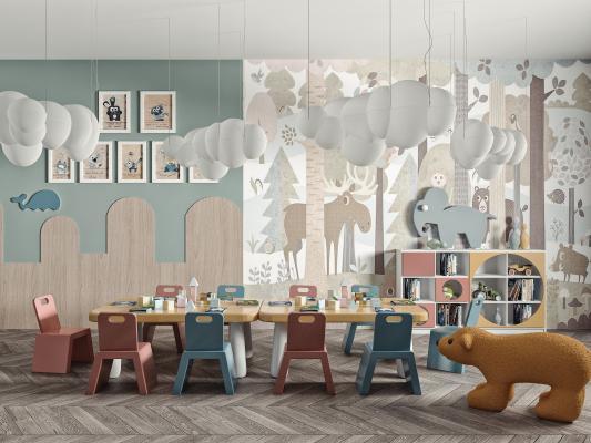 现代儿童桌椅 玩具组合 儿童活动室 儿童书柜
