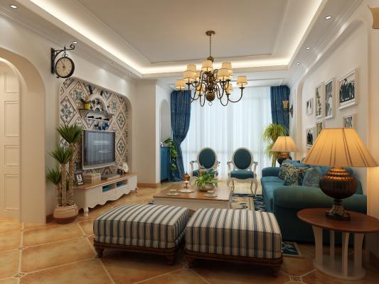 地中海客厅 组合沙发 电视柜