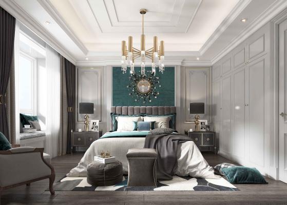 現代轻奢卧室 床头背景墙 床具组合