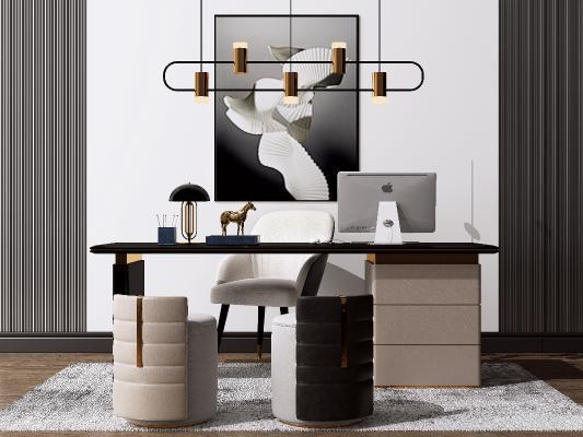 现代办公书桌椅组合 电脑桌椅 艺术吊灯