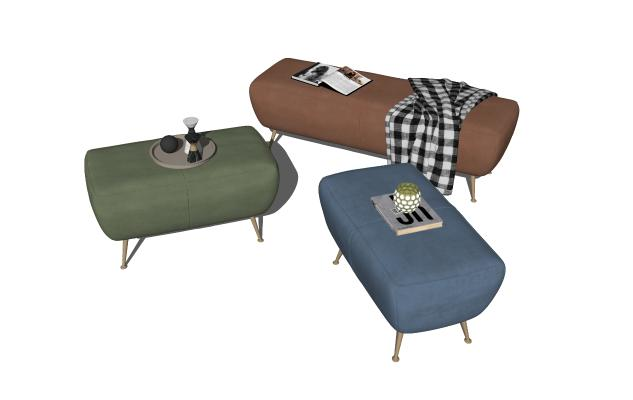 现代沙发凳组合