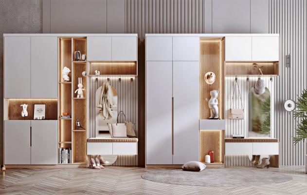 北欧鞋柜组合 鞋子 衣架