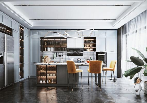 北欧开放式厨房 餐厅 橱柜 吧台