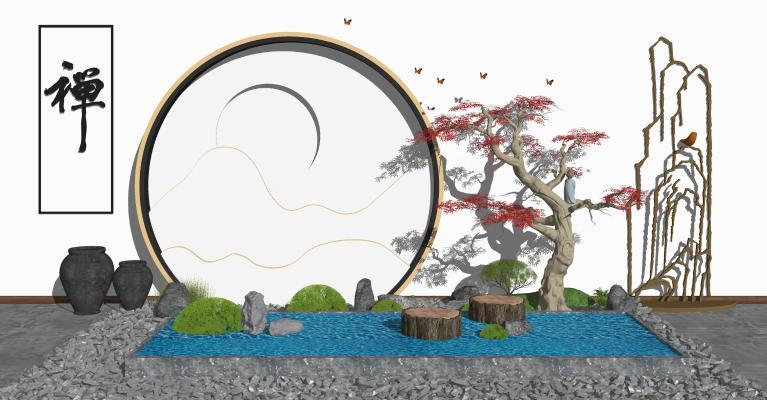 中式庭院景觀 禪意園藝小品 石子