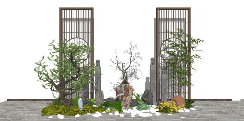 新中式景观小品 庭院景观 隔断