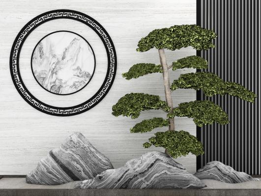 新中式摆件假山