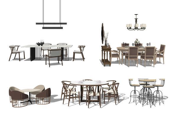 现代餐桌椅 桌子 椅子组合