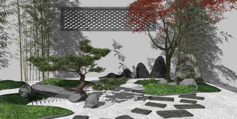 新中式庭院景观 枯山水景观小品 禅意景观