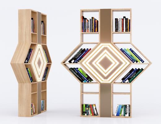 现代实木创意书架