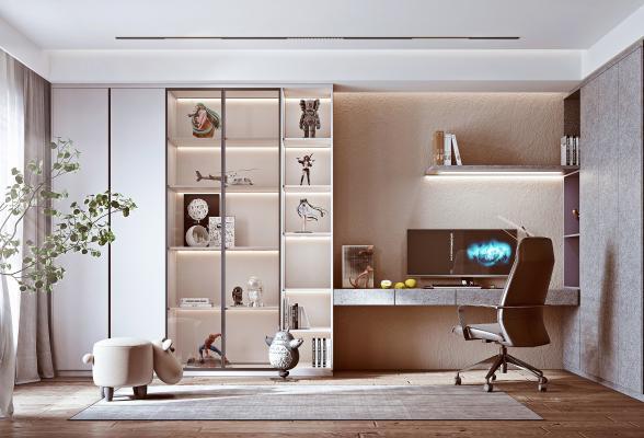 现代书房 书柜 手办柜 书桌