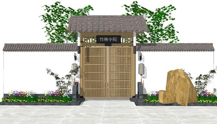 中式风格庭院门 民宿庭院大门