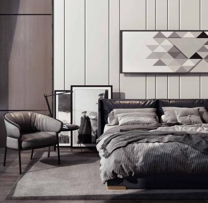 现代风格卧室 双人床单人椅