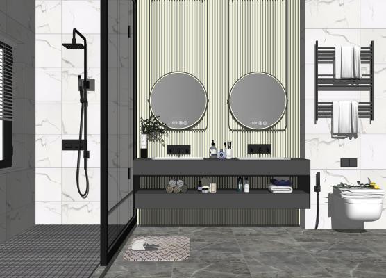 现代卫浴小件组合 卫生间 洗手盆 镜子 马桶